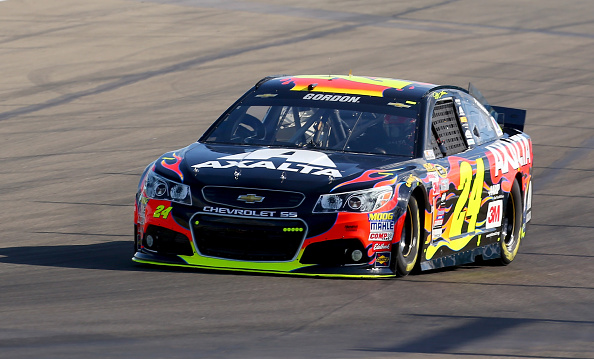 Jeff Gordon on-track during practice for the NASCAR Sprint Cup Series Cheez-It 355 at Watkins Glen International on August 7, 2015 in Watkins Glen, New York.