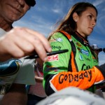BROOKLYN, MI - AUGUST 15:  Danica Patrick, driver of the #10 GoDaddy Chevrolet, interacts with fans in the garage area during practice for the NASCAR Sprint Cup Series Pure Michigan 400 at Michigan International Speedway on August 15, 2015 in Brooklyn, Michigan.  (Photo by Gregory Shamus/Getty Images)