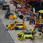 BROOKLYN, MI - AUGUST 16:  Drivers pit during the NASCAR Sprint Cup Series Pure Michigan 400 at Michigan International Speedway on August 16, 2015 in Brooklyn, Michigan.  (Photo by Rey Del Rio/Getty Images)