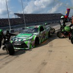 BROOKLYN, MI - AUGUST 16:  Kyle Busch, driver of the #18 Interstate Batteries Toyota, pits during the NASCAR Sprint Cup Series Pure Michigan 400 at Michigan International Speedway on August 16, 2015 in Brooklyn, Michigan.  (Photo by Sarah Crabill/Getty Images)