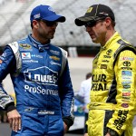 BRISTOL, TN - AUGUST 21:  Jimmie Johnson, driver of the #48 Lowe's Pro Services Chevrolet, and Matt Kenseth, driver of the #20 Dollar General Toyota, talk in the garage area during practice for the NASCAR Sprint Cup Series Irwin Tools Night Race at Bristol Motor Speedway on August 21, 2015 in Bristol, Tennessee.  (Photo by Sean Gardner/Getty Images)