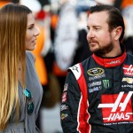 BRISTOL, TN - AUGUST 22: Kurt Busch, driver of the #41 Haas Automation Chevrolet, talks to his girlfriend, Ashley Van Metre, prior to the NASCAR Sprint Cup Series IRWIN Tools Night Race at Bristol Motor Speedway on August 22, 2015 in Bristol, Tennessee.  (Photo by Jeff Zelevansky/Getty Images)