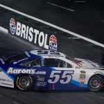 BRISTOL, TN - AUGUST 22: David Ragan, driver of the #55 Aaron's Online Dream Machine Toyota, hits the wall after an on track incident during the NASCAR Sprint Cup Series IRWIN Tools Night Race at Bristol Motor Speedway on August 22, 2015 in Bristol, Tennessee.  (Photo by Gregory Shamus/Getty Images)