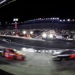 BRISTOL, TN - AUGUST 22: Cars race during the NASCAR Sprint Cup Series IRWIN Tools Night Race at Bristol Motor Speedway on August 22, 2015 in Bristol, Tennessee.  (Photo by Gregory Shamus/Getty Images)