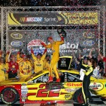 BRISTOL, TN - AUGUST 22:  Joey Logano, driver of the #22 Shell Pennzoil Ford, celebrates in Victory Lane after winning the NASCAR Sprint Cup Series IRWIN Tools Night Race at Bristol Motor Speedway on August 22, 2015 in Bristol, Tennessee.  (Photo by Sean Gardner/Getty Images)