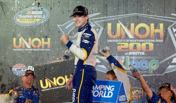 Ryan Blaney celebrates after his Truck Series win at Bristol Motor Speedway on August 19, 2015 in Bristol, Tennessee.