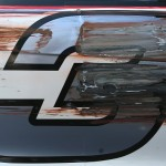 DARLINGTON, SC - SEPTEMBER 04:  A detail view of damaged on the side of the #3 American Ethanol Chevrolet, driven by Austin Dillon, after a scrape with the wall during practice for the NASCAR Sprint Cup Series Bojangles' Southern 500 at Darlington Raceway on September 4, 2015 in Darlington, South Carolina.  (Photo by Matt Sullivan/Getty Images)