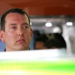DARLINGTON, SC - SEPTEMBER 04:  Kyle Busch, driver of the #18 M&M's Crispy Toyota, looks on in the garage area during practice for the NASCAR Sprint Cup Series Bojangles' Southern 500 at Darlington Raceway on September 4, 2015 in Darlington, South Carolina.  (Photo by Kena Krutsinger/Getty Images)