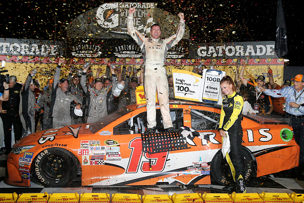 Carl Edwards celebrates after winning the  NASCAR Sprint Cup Series Bojangles' Southern 500 at Darlington Raceway on September 6, 2015 in Darlington, South Carolina.