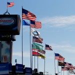 RICHMOND, VA - SEPTEMBER 11: Flags line the garage area during practice for the NASCAR Sprint Cup Series Federated Auto Parts 400 at Richmond International Raceway on September 11, 2015 in Richmond, Virginia.  (Photo by Brian Lawdermilk/Getty Images)