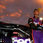 RICHMOND, VA - SEPTEMBER 12:  Denny Hamlin, driver of the #11 FedEx Express Toyota, stands on the grid prior to the NASCAR Sprint Cup Series Federated Auto Parts 400 at Richmond International Raceway on September 12, 2015 in Richmond, Virginia.  (Photo by Daniel Shirey/Getty Images)