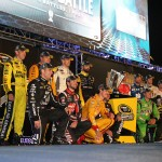 RICHMOND, VA - SEPTEMBER 12:  (Back row L-R) Matt Kenseth, driver of the #20 Dollar General Toyota, Ryan Newman, driver of the #31 Caterpillar Chevrolet, Carl Edwards, driver of the #19 ARRIS Toyota, Paul Menard, driver of the #27 Libman/Menards Chevrolet, Kevin Harvick, driver of the #4 Budweiser/Jimmy John's Chevrolet, Dale Earnhardt Jr., driver of the #88 Nationwide Chevrolet, Brad Keselowski, driver of the #2 Miller Lite Ford, Jeff Gordon, driver of the #24 3M Chevrolet, Denny Hamlin, driver of the #11 FedEx Express Toyota, (front row L-R) Jamie McMurray, driver of the #1 Cessna Chevrolet, Kurt Busch, driver of the #41 Haas Automation Chevrolet, Joey Logano, driver of the #22 Shell Pennzoil Ford, Martin Truex Jr., driver of the #78 Furniture Row/Visser Precision Chevrolet, Kyle Busch, driver of the #18 M&M's Crispy/American Heritage Chocolate Toyota, Clint Bowyer, driver of the #15 5-hour Energy Toyota, and Jimmie Johnson, driver of the #48 Lowe's Chevrolet,  pose for a photo after making the Chase for the Sprint Cup after the NASCAR Sprint Cup Series Federated Auto Parts 400 at Richmond International Raceway on September 12, 2015 in Richmond, Virginia.  (Photo by Chris Graythen/Getty Images)