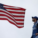 JOLIET, IL - SEPTEMBER 18:  Jimmie Johnson, driver of the #48 Lowe's Chevrolet, looks on from his hauler during practice for the NASCAR Sprint Cup Series myAFibRisk.com 400 at Chicagoland Speedway on September 18, 2015 in Joliet, Illinois.  (Photo by Sean Gardner/Getty Images)