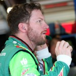 JOLIET, IL - SEPTEMBER 18:  Dale Earnhardt Jr, driver of the #88 DIET MOUNTAIN DEW Chevrolet, stands in the garage area during practice for the NASCAR Sprint Cup Series myAFibRisk.com 400 at Chicagoland Speedway on September 18, 2015 in Joliet, Illinois.  (Photo by Matt Sullivan/Getty Images)