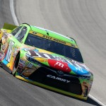 JOLIET, IL - SEPTEMBER 19:  Kyle Busch, driver of the #18 M&M's Crispy Toyota, practices for the NASCAR Sprint Cup Series MyAFibRisk.com 400 at Chicagoland Speedway on September 19, 2015 in Joliet, Illinois.  (Photo by Matt Sullivan/Getty Images)