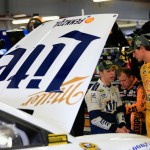 LOUDON, NH - SEPTEMBER 25:  Brad Keselowski, driver of the #2 Miller Lite Ford, speaks with Joey Logano, driver of the #22 Shell Pennzoil Ford, during practice for the NASCAR Sprint Cup Series Sylvania 300 at New Hampshire Motor Speedway on September 25, 2015 in Loudon, New Hampshire.  (Photo by Chris Trotman/Getty Images)