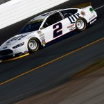 LOUDON, NH - SEPTEMBER 26:  Brad Keselowski, driver of the #2 Miller Lite Ford, practices for the NASCAR Sprint Cup Series Sylvania 300 at New Hampshire Motor Speedway on September 26, 2015 in Loudon, New Hampshire.  (Photo by Jeff Zelevansky/Getty Images)