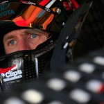 LOUDON, NH - SEPTEMBER 26:  Carl Edwards, driver of the #19 Sport Clips Toyota, sits in his car during practice for the NASCAR Sprint Cup Series Sylvania 300 at New Hampshire Motor Speedway on September 26, 2015 in Loudon, New Hampshire.  (Photo by Chris Trotman/Getty Images)