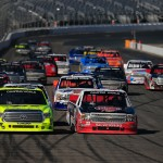 LOUDON, NH - SEPTEMBER 26:  Austin Dillon, driver of the #33 Rheem Chevrolet, and Matt Crafton, driver of the #88 RipIt/Menards Toyota, lead the field during the NASCAR Camping World Truck Series UNOH 175 at New Hampshire Motor Speedway on September 26, 2015 in Loudon, New Hampshire.  (Photo by Chris Trotman/Getty Images)