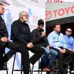 LOUDON, NH - SEPTEMBER 27:  Martin Truex Jr., driver of the #78 Furniture Row/Visser Precision, announces his 2016 partnership with Toyota and technical alliance with Joe Gibbs Racing prior to the NASCAR Sprint Cup Series SYLVANIA 300 at New Hampshire Motor Speedway on September 27, 2015 in Loudon, New Hampshire. (L-R) Joe Garone, General Manager of Furniture Row Racing, Barney Visser, Co-Owner of Furniture Row and Furniture Row Racing, Martin Truex Jr., driver of the #78 Furniture Row/Visser Precision, Edward Laukes, Vice President of Marketing Communications and Motorsports for Toyota USA, and David Wilson, President and General Manager of Toyota Racing Development USA, speak during media availability.  (Photo by Jared C. Tilton/Getty Images)