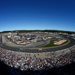 LOUDON, NH - SEPTEMBER 27:  A view of cars racing during the NASCAR Sprint Cup Series SYLVANIA 300 at New Hampshire Motor Speedway on September 27, 2015 in Loudon, New Hampshire.  (Photo by Jeff Zelevansky/Getty Images)