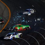 LOUDON, NH - SEPTEMBER 27:  David Ragan, driver of the #55 Aaron's Dream Machine Toyota, and Danica Patrick, driver of the #10 GoDaddy Chevrolet, are involved in an on-track incident during the NASCAR Sprint Cup Series SYLVANIA 300 at New Hampshire Motor Speedway on September 27, 2015 in Loudon, New Hampshire.  (Photo by Jeff Zelevansky/Getty Images)