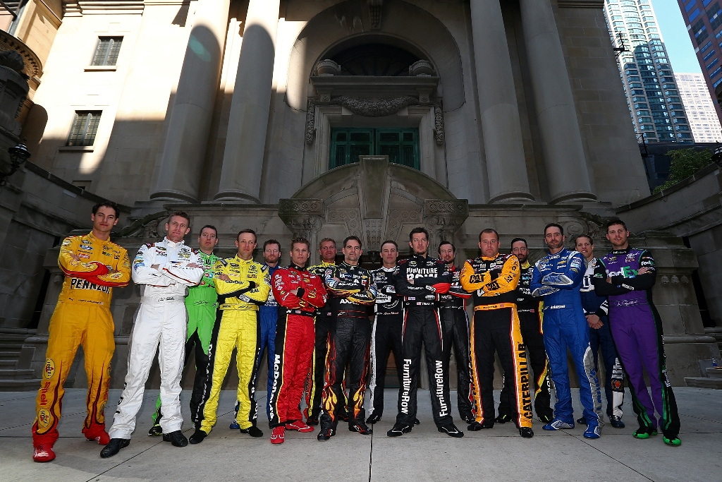The 16 drivers of the NASCAR's Chase for the Sprint Cup are photographed during NASCAR Chase Media Day on September 17, 2015 in Chicago, Illinois.