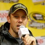 DOVER, DE - OCTOBER 02:  Matt Kenseth, driver of the #20 Dollar General Toyota, speaks to the media after rain canceled practice and qualifying for the NASCAR Sprint Cup Series AAA 400 at Dover International Speedway on October 2, 2015 in Dover, Delaware.  (Photo by Brian Lawdermilk/Getty Images)