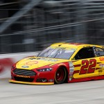 DOVER, DE - OCTOBER 03:  Joey Logano, driver of the #22 Shell Pennzoil Ford, practices for the NASCAR Sprint Cup Series AAA 400 at Dover International Speedway on October 3, 2015 in Dover, Delaware.  (Photo by Jerry Markland/Getty Images)