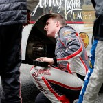 DOVER, DE - OCTOBER 03:  Ty Dillon, driver of the #3 Yuengling Light Lager Chevrolet, works to repair damage on his car after hitting the SAFER Barrier during the NASCAR XFINITY Series Hisense 200 at Dover International Speedway on October 3, 2015 in Dover, Delaware.  (Photo by Brian Lawdermilk/Getty Images)