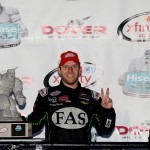DOVER, DE - OCTOBER 03:  Regan Smith, driver of the #7 Fire Alarm Services Chevrolet, celebrates in victory lane after winning the NASCAR XFINITY Series Hisense 200 at Dover International Speedway on October 3, 2015 in Dover, Delaware.  (Photo by Jeff Curry/Getty Images)