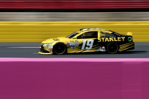 CHARLOTTE, NC - OCTOBER 08:  Carl Edwards, driver of the #19 Stanley Toyota, drives during practice for the NASCAR Sprint Cup Series Bank of America 500 at Charlotte Motor Speedway on October 8, 2015 in Charlotte, North Carolina.  (Photo by Jerry Markland/Getty Images)