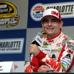 during practice for the NASCAR Sprint Cup Series Bank of America 500 at Charlotte Motor Speedway on October 8, 2015 in Charlotte, North Carolina.