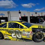 CHARLOTTE, NC - OCTOBER 11:  Matt Kenseth, driver of the #20 Dollar General Toyota, pulls into the garage in his damaged car during the NASCAR Sprint Cup Series Bank of America 500 at Charlotte Motor Speedway on October 11, 2015 in Charlotte, North Carolina.  (Photo by Jonathan Ferrey/Getty Images)