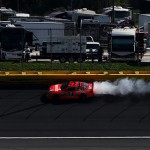 CHARLOTTE, NC - OCTOBER 11:  Justin Allgaier, driver of the #51 Brandt Chevrolet, is involved in an incident during the NASCAR Sprint Cup Series Bank of America 500 at Charlotte Motor Speedway on October 11, 2015 in Charlotte, North Carolina.  (Photo by Streeter Lecka/Getty Images)
