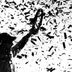 CHARLOTTE, NC - OCTOBER 11: (EDITOR'S NOTE: This image has been converted to black and white.)  Joey Logano, driver of the #22 Shell Pennzoil Ford, celebrates in Victory Lane after winning the NASCAR Sprint Cup Series Bank of America 500 at Charlotte Motor Speedway on October 11, 2015 in Charlotte, North Carolina.  (Photo by Jonathan Ferrey/Getty Images)