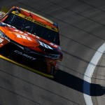 KANSAS CITY, KS - OCTOBER 16: Kyle Busch, driver of the #18 M&M's Halloween Toyota, practices for the NASCAR Sprint Cup Series Hollywood Casino 400 at Kansas Speedway on October 16, 2015 in Kansas City, Kansas.  (Photo by Todd Warshaw/Getty Images)