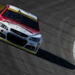 KANSAS CITY, KS - OCTOBER 16: Kevin Harvick, driver of the #4 Budweiser/Jimmy John's Chevrolet, practices for the NASCAR Sprint Cup Series Hollywood Casino 400 at Kansas Speedway on October 16, 2015 in Kansas City, Kansas.  (Photo by Todd Warshaw/Getty Images)