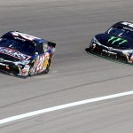 KANSAS CITY, KS - OCTOBER 17: Matt Kenseth, driver of the #20 Reser's Main St. Bistro Toyota, leads Kyle Busch, driver of the #54 Monster Energy Toyota, during the NASCAR XFINITY Series Kansas Lottery 300 at Kansas Speedway on October 17, 2015 in Kansas City, Kansas.  (Photo by Jerry Markland/Getty Images)