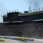 KANSAS CITY, KS - OCTOBER 18:  A general view of the action during the NASCAR Sprint Cup Series Hollywood Casino 400 at Kansas Speedway on October 18, 2015 in Kansas City, Kansas.  (Photo by Ed Zurga/Getty Images)