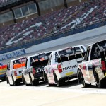 TALLADEGA, AL - OCTOBER 23:  A view of trucks lined up on pit road during practice for the NASCAR Camping World Truck Series Fred's 250 presented by Coca-Cola at Talladega Superspeedway on October 23, 2015 in Talladega, Alabama.  (Photo by Jerry Markland/Getty Images)