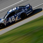 TALLADEGA, AL - OCTOBER 23:  Jimmie Johnson, driver of the #48 Lowe's Chevrolet, practices for the NASCAR Sprint Cup Series CampingWorld.com 500 at Talladega Superspeedway on October 23, 2015 in Talladega, Alabama.  (Photo by Todd Warshaw/Getty Images)