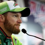 TALLADEGA, AL - OCTOBER 23:  Dale Earnhardt Jr., driver of the #88 Diet Mountain Dew Chevrolet, speaks during a press conference prior to practice for the NASCAR Sprint Cup Series CampingWorld.com 500 at Talladega Superspeedway on October 23, 2015 in Talladega, Alabama.  (Photo by Patrick Smith/Getty Images)