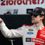TALLADEGA, AL - OCTOBER 23:  Ryan Blaney, driver of the #21 Motorcraft/Quick Lane Tire & Auto Center Ford, stands in the garage area during practice for the NASCAR Sprint Cup Series CampingWorld.com 500 at Talladega Superspeedway on October 23, 2015 in Talladega, Alabama.  (Photo by Todd Warshaw/Getty Images)