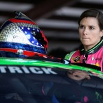 TALLADEGA, AL - OCTOBER 23:  Danica Patrick, driver of the #10 GoDaddy Chevrolet, stands in the garage area during practice for the NASCAR Sprint Cup Series CampingWorld.com 500 at Talladega Superspeedway on October 23, 2015 in Talladega, Alabama.  (Photo by Patrick Smith/Getty Images)