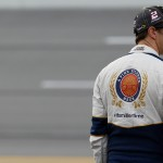 TALLADEGA, AL - OCTOBER 24: Brad Keselowski, driver of the #2 Miller Lite Ford, stands on the grid during qualifying for the NASCAR Sprint Cup Series CampingWorld.com 500 at Talladega Superspeedway on October 24, 2015 in Talladega, Alabama.  (Photo by Brian Lawdermilk/Getty Images)