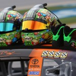 TALLADEGA, AL - OCTOBER 24: A detailed view of the helmets and shoes of Kyle Busch, driver of the #18 M&M's Halloween Toyota, during qualifying for the NASCAR Sprint Cup Series CampingWorld.com 500 at Talladega Superspeedway on October 24, 2015 in Talladega, Alabama.  (Photo by Tom Pennington/Getty Images)