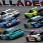 TALLADEGA, AL - OCTOBER 25: Cars race during the NASCAR Sprint Cup Series CampingWorld.com 500 at Talladega Superspeedway on October 25, 2015 in Talladega, Alabama.  (Photo by Todd Warshaw/Getty Images)