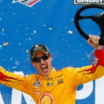 TALLADEGA, AL - OCTOBER 25:  Joey Logano, driver of the #22 Shell Pennzoil Ford, celebrates in Victory Lane after winning the NASCAR Sprint Cup Series CampingWorld.com 500 at Talladega Superspeedway on October 25, 2015 in Talladega, Alabama.  (Photo by Daniel Shirey/Getty Images)