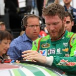 TALLADEGA, AL - OCTOBER 25:  Dale Earnhardt Jr., driver of the #88 Diet Mountain Dew Chevrolet, reacts on pit road after the NASCAR Sprint Cup Series CampingWorld.com 500 at Talladega Superspeedway on October 25, 2015 in Talladega, Alabama.  (Photo by Jerry Markland/Getty Images)